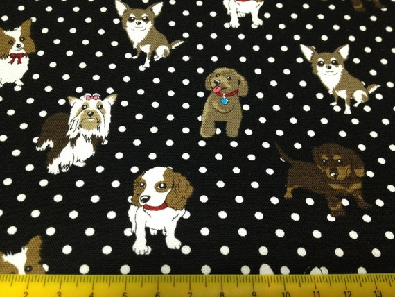 One yard cute doggy and dots printed fabric Black color