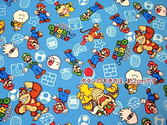 SUPER Mario FQ  fabric Blue color Fat quarter