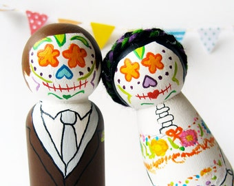 Day of the Dead Cake toppers Sugar skull bride and groom, Custom