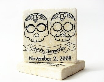 wedding favors Day of the Dead, 50 tile magnets sugar skull