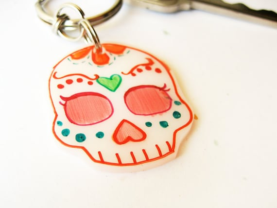 Day of the Dead keychain, sugar skull art by La Santa Muerte