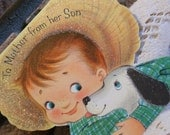Boys Love Their Mommies..Set of 4 vintage Mother's Day Cards..From Son..Circa Early Sixties..Free Domestic Shipping..
