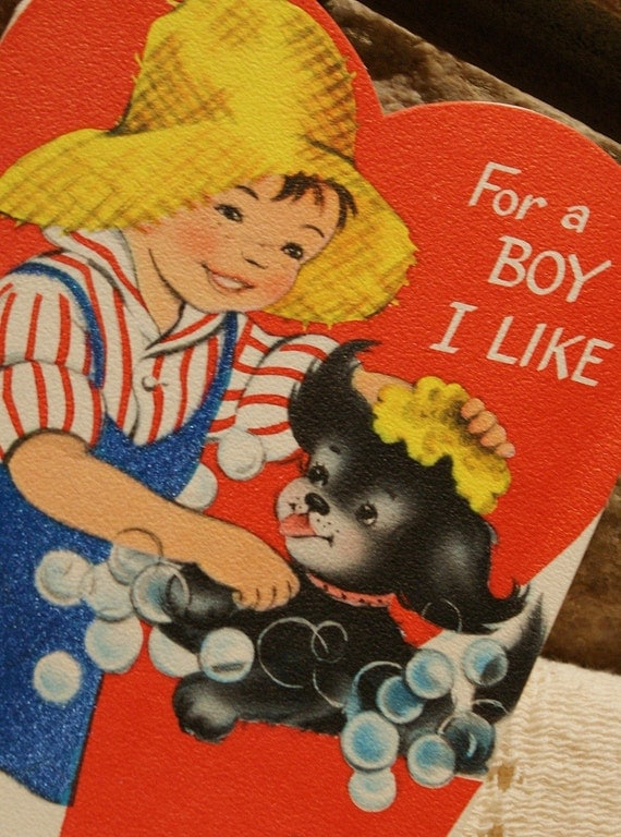 Sweet Vintage Valentine, 'For a Boy I Like'...Circa early 1960's..FREE DOMESTIC SHIPPING..