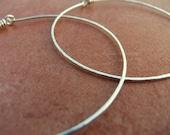 Large Hoops Sterling Silver Hammered Hoops Wire Hoop Earrings Handcrafted Hoops Large Thin Light
