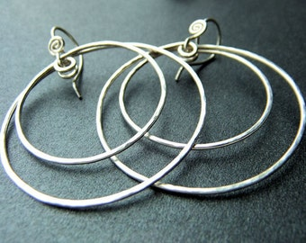 Hoop Earrings Double Oval Sterling Silver Double Hoops Hammered Circle Earrings Handcrafted Hand Shaped Plain Hoops French Ear Wires