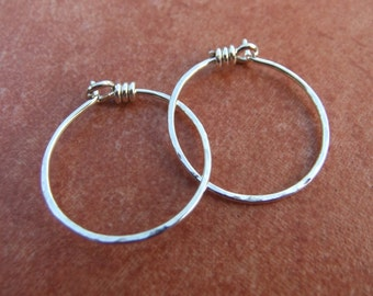 Small Hoops Sterling Silver or 14K Goldfill Hammered Hoop Earrings Plain Wire Hoops Hand Shaped Thin Small Light Delicate