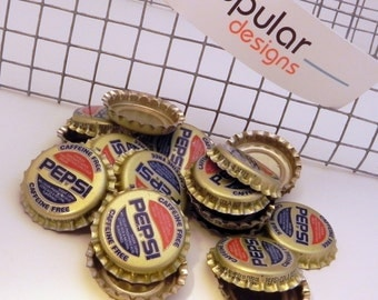 20 Caffeine Free Pepsi Vintage Unused Soda Pop Bottle Caps scrapbook  jewelry crafts pop art