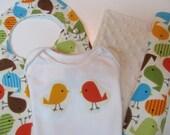 Baby Gift Set, Birds, Bib, Burp Cloth, Gender Neutral, Urban Zoologie , Anne Kelle, Red, Blue, Green, Orange, Choose Minky Color,