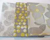 Baby Burp Cloth Set of 3, Amy Butler, Grey, Yellow, Gold, Floral, Modern, Floating Buds, Martini, Optic Blossom, Grey Minky Dot