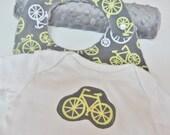 Baby Gift Set, Bicycles, Bib, Burp Cloth, Grey, Yellow, Pink, Gender Neutral, Boy, Girl, Minky Dot