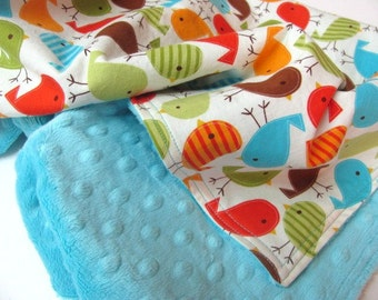 Minky Baby Blanket, Birds, Green, Orange, Red, Turquoise, Bermuda Birds,  with Your Choice of Minky Dot