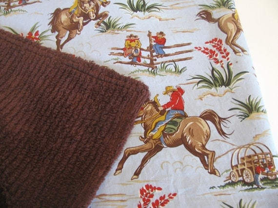 Baby  Blanket in Barn Dandys With Brown Chenille