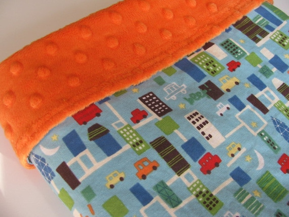 Baby Boy Blanket, Beep Beep and Orange Minky Dot