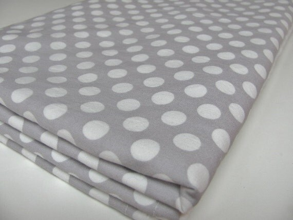 Grey Baby Blanket, Polka Dots and White Minky Dot