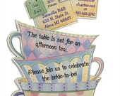 "Teacup Invitations 12 PERSONALIZED. Birthday, Baby or Bridal Shower Tea Party 5"" by 7"""