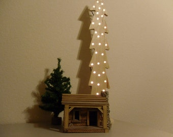 Wooden Lighted Christmas Tree