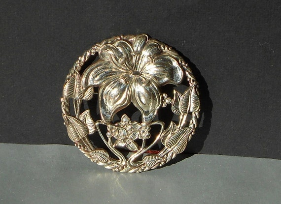 Vintage Floral Medallion Pin Lang Sterling Silver