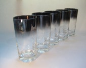 Set of Eight Vintage Collins Glasses Mirrored Fade