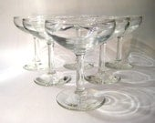 SIx Vintage Champagne Coupes - Cocktail Glasses