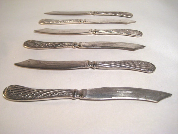 Set of Six Sterling Plated Knives