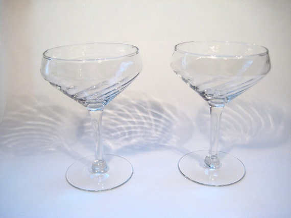 Pair of Vintage Cocktail or Champagne Glasses - Coupes