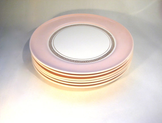 Pink American Limoges Plates- Federal Coral Pink with Gold Laurel Leaf Rim