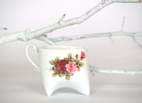 Ceramic Porcelain cup - handmade cup with vintage flowers pattern