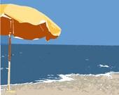 Yellow beach umbrella ocean summer blue water - 11 x 14 art print by Dawn Smith