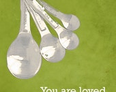 Cooking Kitchen Measuring Spoons Love Measure Art - 16 x 20 art photography print by Dawn Smith