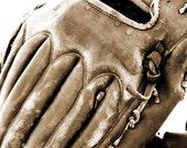 Baseball Sports Glove Boy's room Sepia Photograph - 5 x 7 art print by Dawn Smith