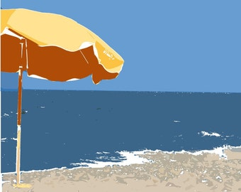 Yellow beach umbrella ocean summer blue water - 11 x 14 art print by Dawn Smith