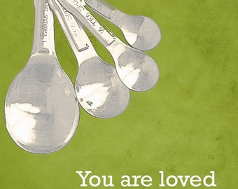 Love Measuring Spoons Kitchen Cooking Art   - 8 x 10 print by Dawn Smith