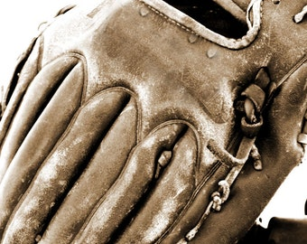 Baseball Sports Glove Boy's room Sepia Photograph - 5 x 7 art print by Dawn Smith