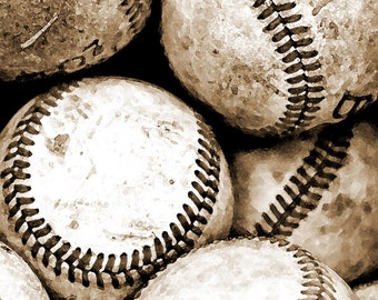 Dorm College Baseball Photography Art Sepia Sports Print  Bucket of Balls Boys room Sports - 8 x 10 art print by Dawn Smith