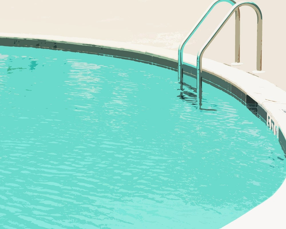 Drawing Swimming Pools : Swimming pool summer water blue ladder art print by