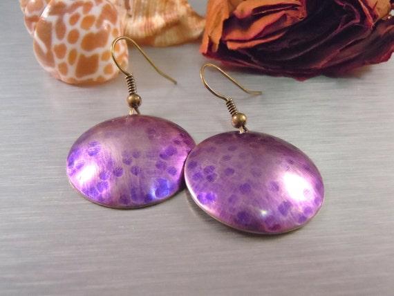 Purple Silver Round Earrings