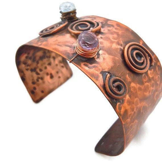 Copper sculpture bracelet