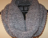 Gray and Silver Thread Infinity Scarf and Hand Warmers
