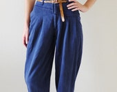 Navy Blue Peg Leg Pants with Tan Leather Belt