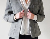 Gray (Grey) Tweed Wool Short Winter Jacket