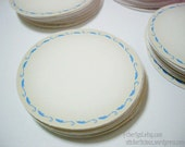 """100 Vintage Cream Blue Damask Border 1.75"""" Round Strong-Adhesive Vinyl Labels Stickers Tags"""