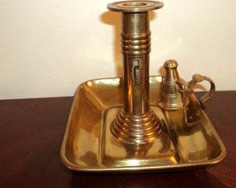 Vintage Brass Mottahedeh Candle Holder with Push Up Stem and Snuffer