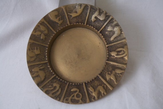 Vintage Chinese Zodiac Astrology Ashtray or Dish