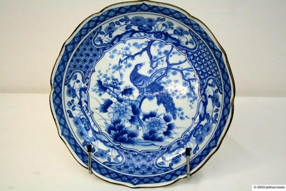 Vintage Porcelin Blue and White Peacock Japanese Bowl