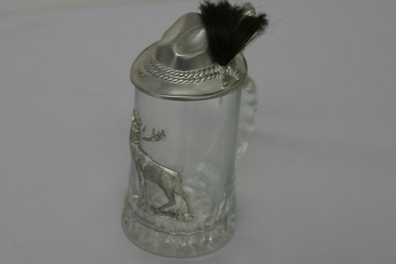Vintage German Glass Beer Stein with Prized Goat Hair Swatch
