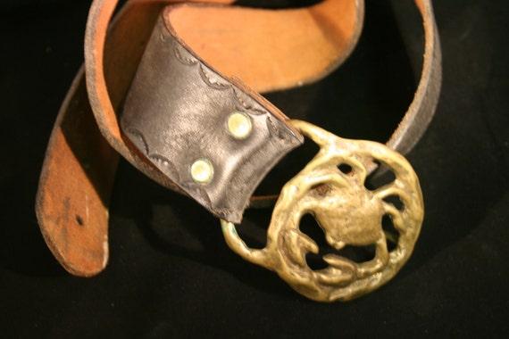 Vintage Cancer Beltbuckle and Leather Belt