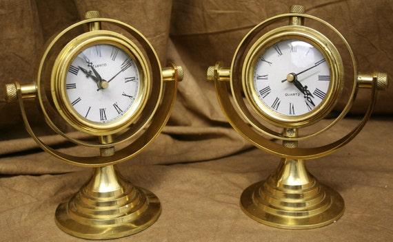 Vintage Brass Gimbal Clock Weems and Plath Style Rotating Sphere Quartz Desk Clock