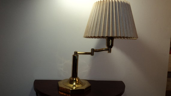 Vintage Brass Lamp with Swing Arm Neck