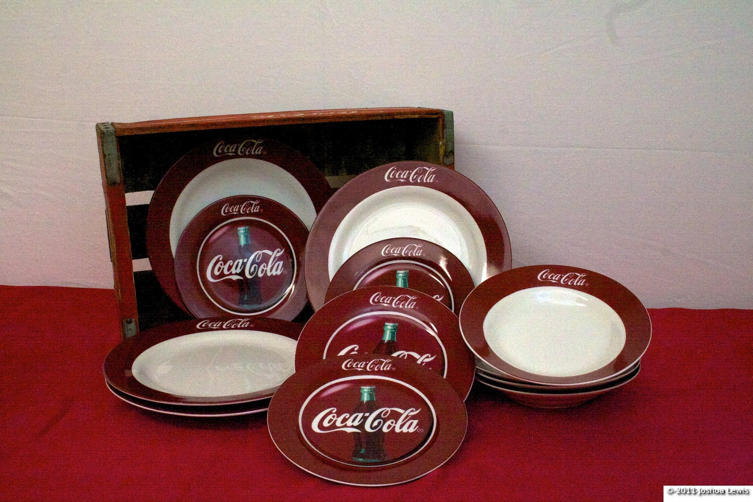 Vintage Coca Cola 12 Piece Dinnerware Set Gibson China And