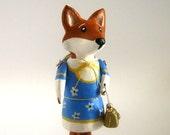 OOAK Animal Pin - Little Fox in Blue Dress